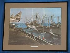 Watercolor Print  George Menkel (1960)  Framed  REPLENISHMENT DAY AT SEA  29x23