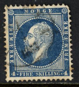 NORWAY SCOTT 4 1856 KING OSCAR III REGULAR ISSUE USED VF CAT $20!