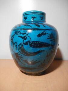 Vase ancien faience ceramique moyen orient Iran Perse oiseau fleur fond bleu