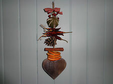 HANGING DECORATION Handmade with wooden heart, dried fruit, & berries