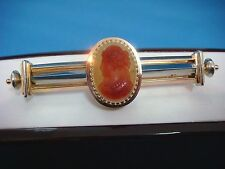 !ANTIQUE CARNELIAN ONYX LARGE CAMEO BROOCH 18K ROSE AND WHITE GOLD , 20.2 GRAMS