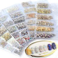 1440pcs/lot 3D Flat Back Nail Art Rhinestones Glitter Gems Tips Decoration DIY