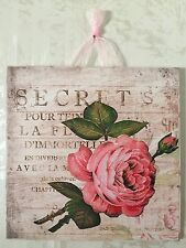 Paris Shabby Distressed Rose Plaque Wall Decor Sign French Country Chic