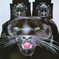 US 3D Black Leopard Panther Duvet Quilt Cover Pillowcase Bedding Set Queen Size