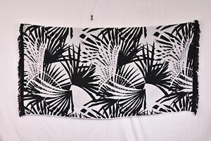 Hurley Jacquarded Palm Tree Leaves Cotton Beach Towel w/ Tassles, Black & White