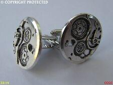 steampunk jewellery cufflinks silver coloured clockwork mechanism gearwheel cogs