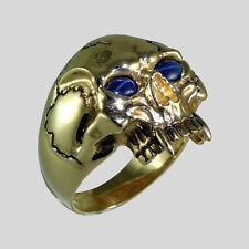 14K Yellow Gold Biker Skull Sapphire Harley Ring Vampire Size 13 by UNIQABLE