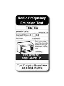 PAT Test Microwave Labels - 105 Fully Personalised