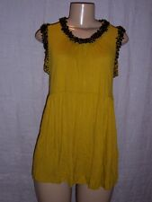 French Connection Mustard color tunic top with black glass beads Size Large NWT