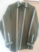 AXCESS Mens Size M Long Sleeve Button Front Shirt Green w/ Blk/Tan/Teal Stripes