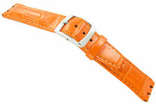 20mm Genuine Leather Alligator Grain Padded Orange Watch Band Fits Swatch