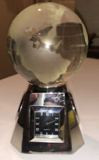 Very Nice CRYSTAL DESK CLOCK WITH DETACHABLE WORLD GLOBE Paperweight