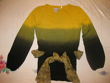 GORGEOUS  ALBERTO MAKALI OMBRE-BLACK,GREEN,YELLOW LONG SLEEVES SWEATER W/BELT M