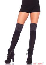SEXY calze PARIGINE Nero/Argento Costine Lurex intimo Lingerie Fashion GLAMOUR !
