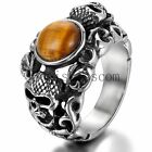 Manmade Tiger's Eye Stainless Steel Skull Head Biker Gothic Men's Ring Size 7-11