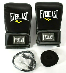 Everlast SG7050 Boxing Training Starter Kit Gloves & Wrap L 7502LXLU Black