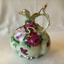Vintage Hand Painted Rose Pitcher/Vase, Footed with Scrolled Handle