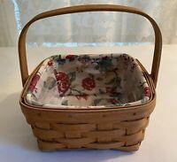 Longaberger 2005 Medium Berry Basket #11428, Warm Brown Stain, Liner & Protector