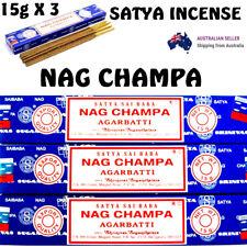 Nag Champa Incense Sticks Satya Sai Baba 15g x 3Box Pack Original Scent Insence