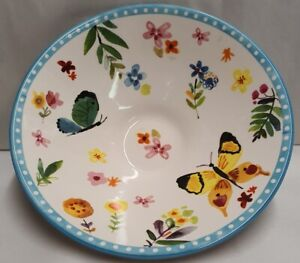 Morgan & Finch Dolomite Floral Butterfly Flared Ceramic Blue Bowl #19956202 25cm