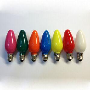 7X Replacement Christmas Light Bulbs 20V 3W E10 Opaque Multi Coloured Small M...