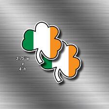 """2x IRISH 4"""" Shamrock Clover Vinyl Decals Sticker Ireland Flag"""