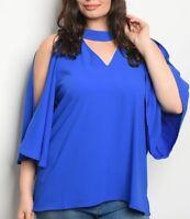 d93af70d Size 3X Shirt Top BLUE ROYAL Cold Shoulder 3/4 SLEEVES Womens Plus VERY J