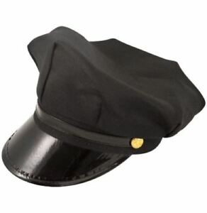Brand New Black Chauffeur Hat Party Limo Driver Peaked Cap Hen Stag Fancy Dress