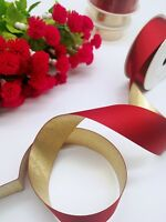 2 meters Sherry Red Satin and Metallic Gold Double side Ribbon Xmas decor