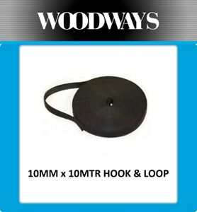 10mm Hook and Loop roll 10 metre Double Sided 10m Heavy Duty Black