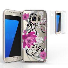For Samsung Galaxy S7 Edge Tri Max 360 Transparent Full Body Design Case LOTUS