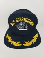 USS Constition Vintage New Era Navy Blue Naval Snapback Hat USA Made