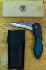North American Hunting Club-Folding Lock Blade-Black+Green Handle-W/Pouch