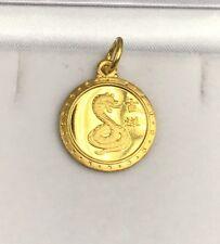 24K Solid Yellow Gold Snake Animal Sign Round Charm/ Pendant, 1.85 Grams