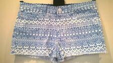 Brave Soul Stretch Azul/Blanco Dobladillo Deshilachado Pantalones Cortos De Mezclilla/Hot Pants Size UK 10