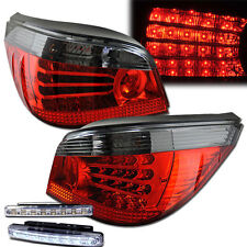 2004-2007 BMW 5-SERIES E60 REAR BRAKE TAIL LIGHTS RED/SMOKED+LED BUMPER RUNNING