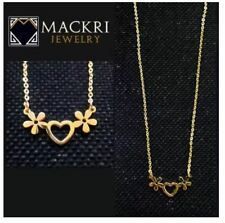 MACKRI Gold Stainless Steel Chain Necklace with Flower Heart Pendant