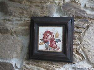 Stunning ornate Antique floral tile in Antique chunky solid wood frame Decorator