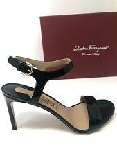 New Salvatore Ferragamo Womens Sandals Black Patent Ladies Shoes Size 7.5 C 38