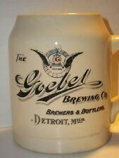 1890s Pre-Pro Goebel Brewing Co Beer Mug Early Bottlers, Bottle,Detroit Scarce!
