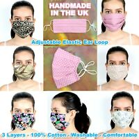 UNISEX COTTON FACE MASK PROTECTIVE MOUTH COVER WASHABLE REUSABLE ADJUSTABLE EAR