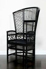 VINTAGE 4 FT CHINOISERIE HOLLYWOOD REGENCY MCM BAMBOO THRONE CHAIR BLACK LACQUER