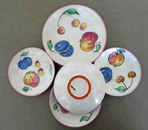 Keramik: 5 bunte Dessert-Teller + 1 größerer Teller - Obstdekor