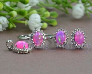 925 Solid Silver Natural  7X5 MM Pink Opal Gems Natural Ring Earring Pendent Set