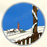 1930s French Pochoir Max Ninon Print Art Deco Winterscape Old Tower View Houses