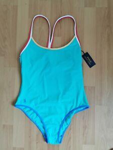 Ralph Lauren Polo Womens Doubling Binding Racerback One-Piece Swimsuit size uk10