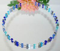 Halskette Würfelkette Cat Eye Kristall Glas hellblau blau türkis Strass 502.