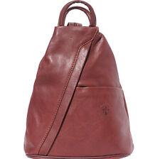 Borsa a Zainetto Cuoio Pelle Leather Backpack Purses Italian Made In Italy 2061b