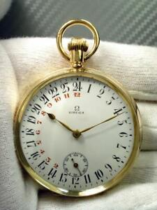 OMEGA EXTREMELY RARE SWISS SOLID GOLD POCKET WATCH 15ct – 1927 50mm - ONLY ONE