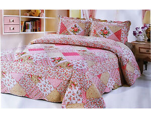 3Pcs Quilted Bedspread Throw Patchwork Set Comforter 2 Pillow Double King Size